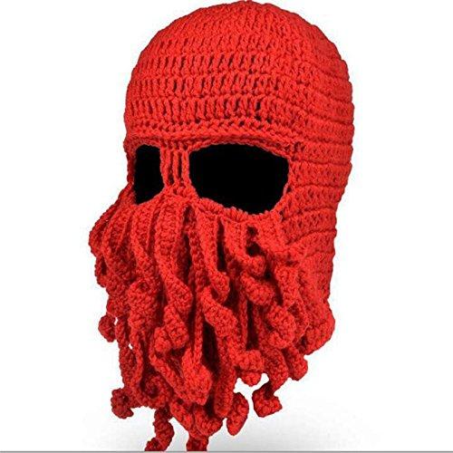 Mens Knit Hat Winter Funny Octopus Beard Beanie Hat Face Mask -