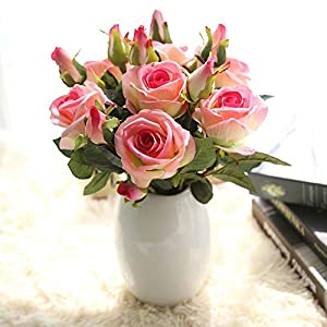 HitHopKing Artificial Rose Flowers Flannel Flower Bridal Bouquet Wedding Party Home Decor 42