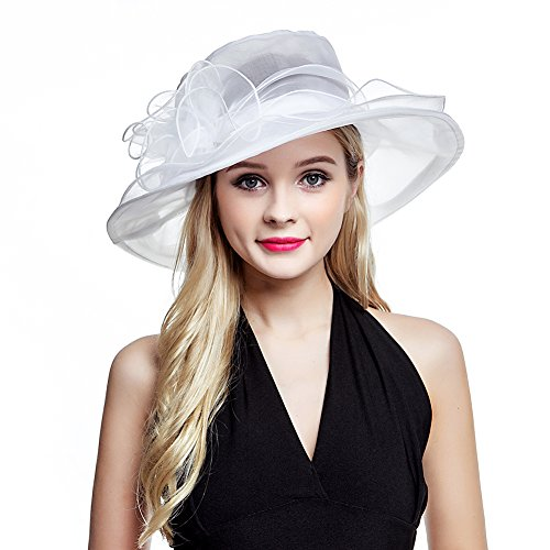 Women's Organza Church Derby Fascinator Cap Kentucky Tea Party Wedding Hat White ()