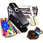 Pick-a-Palooza DIY Guitar Pick Punch with Leather Key Chain Pick Holder, 15 Pick Strips and a Guitar File - Black/Black