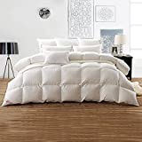 Snowman White Goose Down Comforter TWIN Size 100% Cotton Shell Down Proof-Solid White Hypo-allergenic