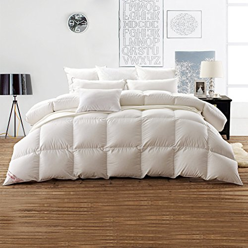 SNOWMAN White Goose Down Comforter TWIN Size 100% Cotton Shell Down Proof-Solid White Hypo-allergenic by SNOWMAN