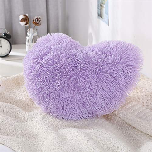 MooWoo Fluffy Faux Fur Throw Pillow,Sherpa Plush Shaggy, Solid Color, Heart Shape (Purple)