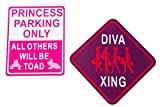 princess bedroom ideas FUN ROOM SIGNS | Kids Wooden Designed Plaques | 'Princess Parking Only' | 'Diva Xing' | Most Popular Signs w Sawtooth Picture Hanger | Approx 6in x 6in | Great Gift Idea | Girls Bedroom Door