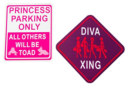 Hanger Princess Door (FUN ROOM SIGNS | Kids Wooden Designed Plaques | 'Princess Parking Only' | 'Diva Xing' | Most Popular Signs w Sawtooth Picture Hanger | Approx 6in x 6in | Great Gift Idea | Girls Bedroom Door)