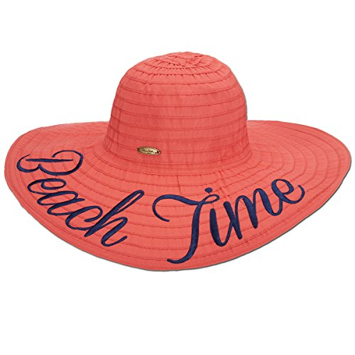 Panama Jack Women's Beach Time Ribbon Packable Sun Hat, 5