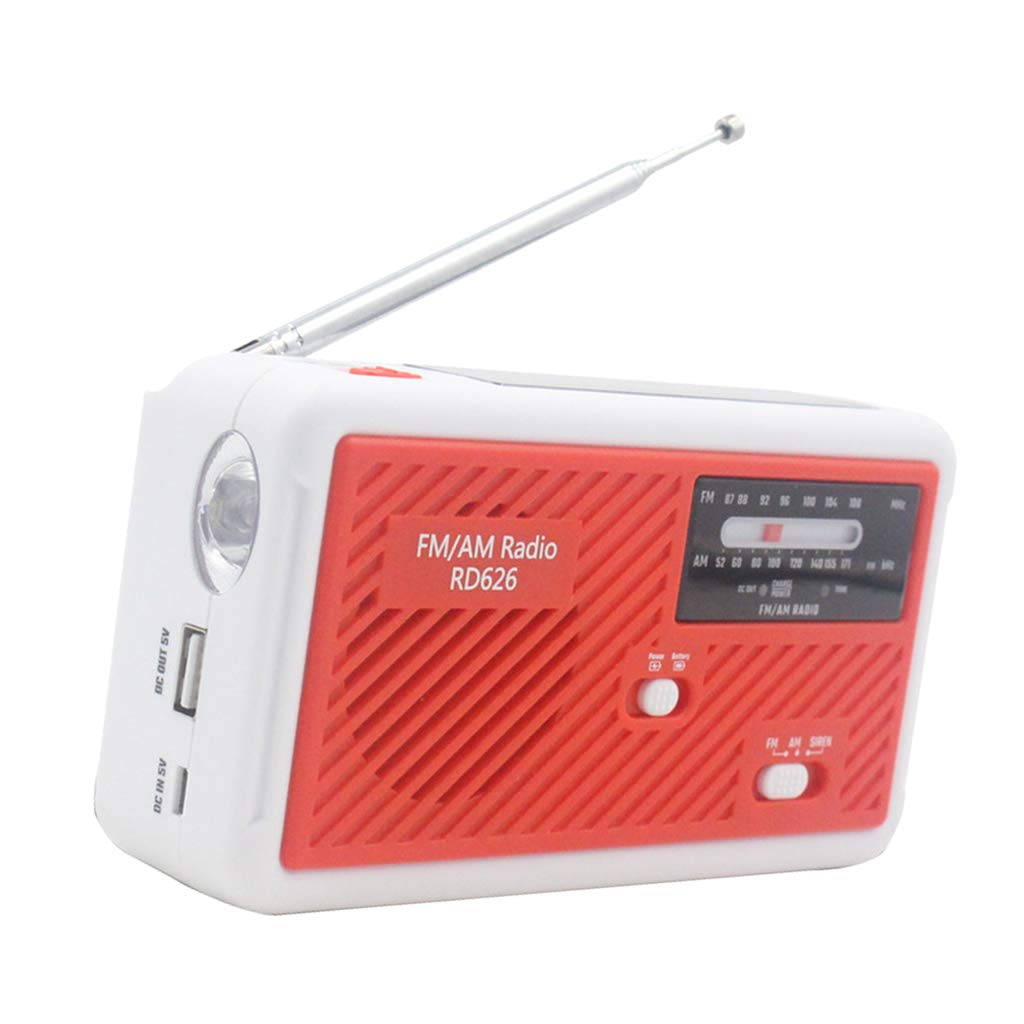 Weather Radio with LED Reading Lamp Red Solar Hand Crank Power ...