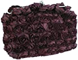 Purple Romantic Rose Rosette Sheer Satin Soft Baguette Evening Clutch Handbag Purse w/Detachable Chain, Bags Central