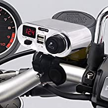 Chrome Waterproof Motorcycle 3 in 1 Handlebar Power Station Cigarrete Lighter/dual Usb Charger/voltage Meter