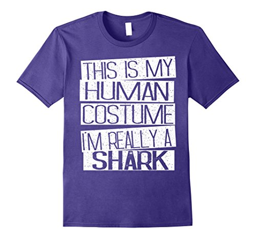 [Mens This Is My Human Costume I'm Really A Shark T-Shirt Medium Purple] (Nurse Shark Costume)