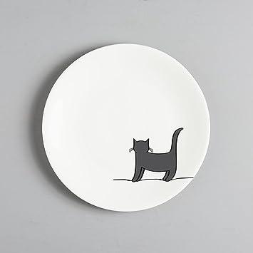 Jin Designs - Plato lateral de porcelana fina con gato de pie - 20,32 cm - regalo para amantes de los gatos: Amazon.es: Hogar