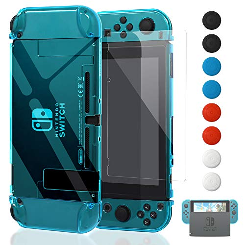 Dockable Case for Nintendo Switch [Updated],FYOUNG Protective Accessories Cover Case for Nintendo Switch and Nintendo Switch Joy-Con Controller with a Tempered Glass Screen Protector - Clear - Switch Cover