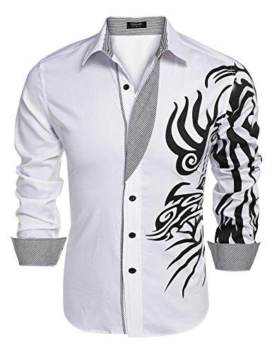 JINIDU Men's Solid Point Collar Print Button Down Shirt