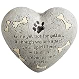 Dog Painted Heart Engraved Memorial Garden Stone Grave Marker, Cement Construction, 6