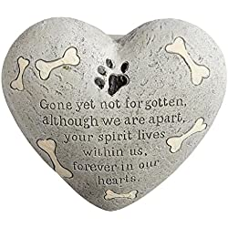 "Dog Painted Heart Engraved Memorial Garden Stone Grave Marker, Cement Construction, 6""L x 6""W x 3""H"