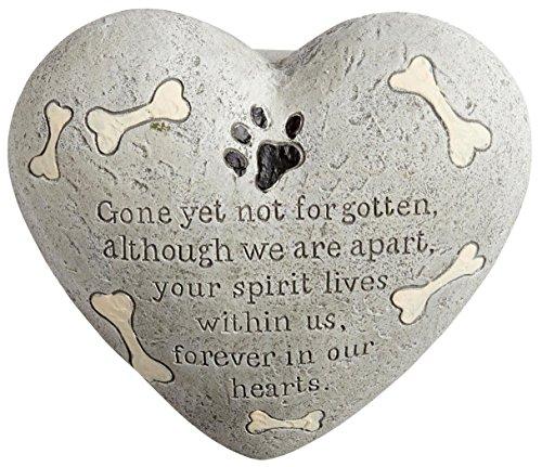 Nantucket Home Dog Painted Heart Engraved Memorial Garden Stone Grave Marker, Cement Construction, 6