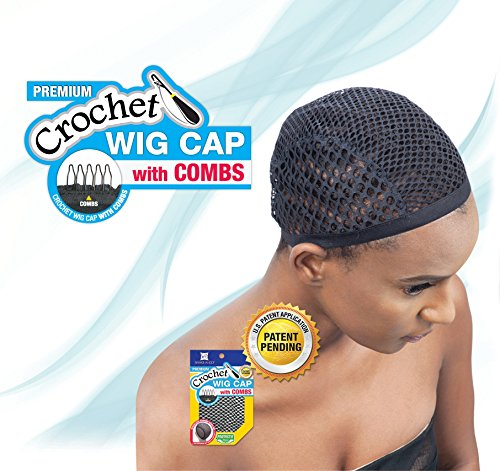 Shake N Go Freetress Crochet Wig Cap with Combs Diamond Shape Net (6 Pack) by Freetress
