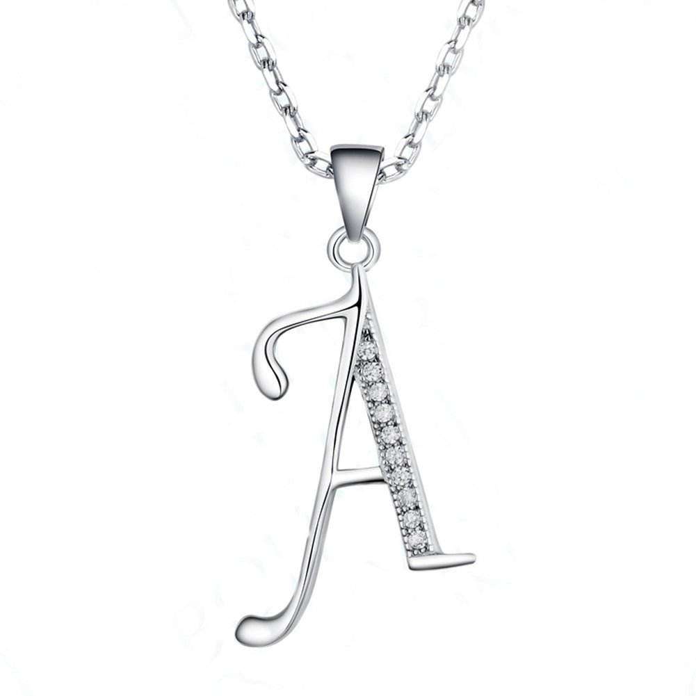 Paialco S925 Sterling Silver CZ Initial Charm Pendant Necklace Rhodium Plated Jimmy Li JAYP 10202WH0A401
