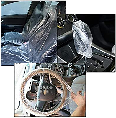 Car Repair Plastic Three-Piece Set With Seat Cover Gear Cover And Steering Wheel Cover Three-piece set//Transparent Joeesun Disposable Car Seat Steering Wheel Cover