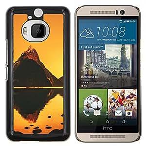EJOOY---Cubierta de la caja de protección para la piel dura ** HTC One M9Plus M9+ M9 Plus ** --Naranja Mountain Lake