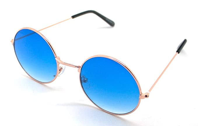 Totalcovers Gafas de Sol Hippie Retro Redondas Lagofree Alta Calidad UV400 Sunglasses Azul