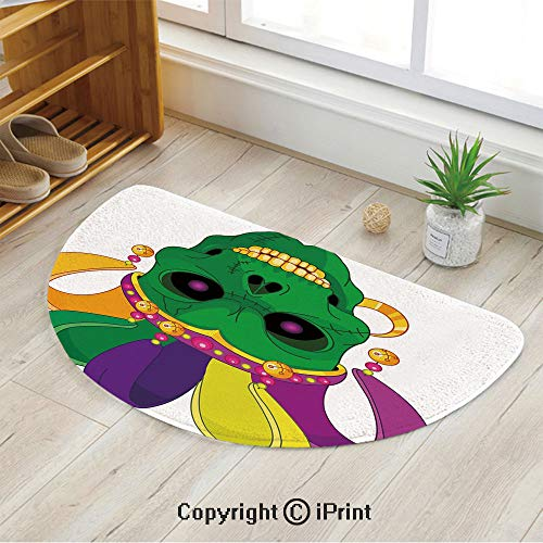 LEFEDZYLJHGO Indoor and Outdoor Door Mat,Semicircle Non-Slip Doormats,Scary Looking Green Skull Mask with Carnival Hat Beads and Earring Cartoon Style Decorative,47