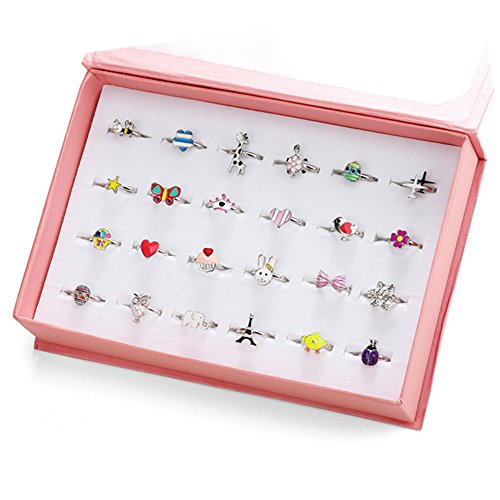 Missing Memory Box Color (PinkSheep 24pcs Children Kids Teen Girl Alloy Rings, Adjustable Jewelry Rings in Box, Girl Pretend Play and Dress Up Rings)
