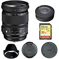 Sigma 24-105mm F/4 DG OS HSM Lens for Nikon (635-306) with Sigma USB Dock for Nikon Lens & Lexar 32GB Professional 1000x SDHC Class 10 UHS-II Memory Card