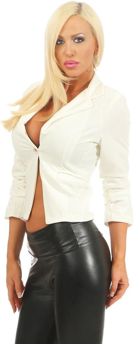 Fashion4Young 11159 Klassischer Taillierter Damen Blazer Business Jacke Elegant Kurzjacke Stretch J/äckchen Reversekragen