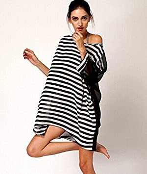 QXJ Abrigo largo blusa de bikini cubierto hilado en blanco y negro rayas vestido/túnica
