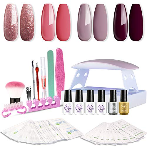 SEXY MIX Gel Nail Polish Kit with UV LED Light, Home Gel Nail Polish Kit Manicure Tools 4 Colors Gel Nail Polish Base and Top Coat, Portable Kit for Travel (Best At Home Gel Polish)