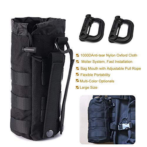 (R.SASR Upgraded Sports Water Bottles Pouch Bag, Tactical Drawstring Molle Water Bottle Holder Tactical Pouches, Travel Mesh Water Bottle Bag Tactical Hydration Carrier)