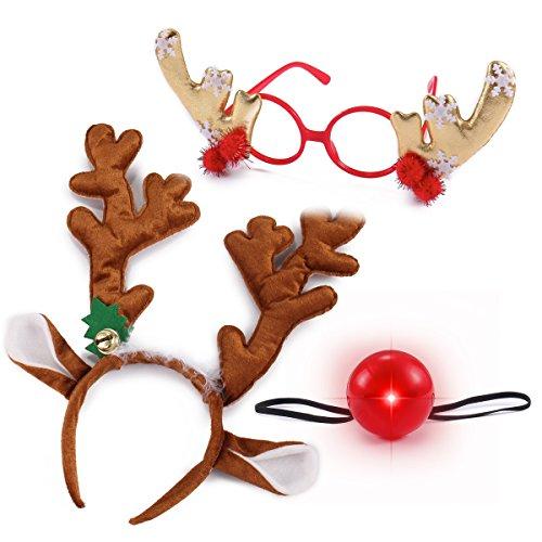 Reindeer Nose - JOYIN Reindeer Antler Headband Set with