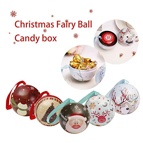 Tinplate Round Ball Boxes Candy Box, Outsta Candy Can Galaxy Reindeer Santa Tree Hanging Decorations Party 2.36 inch (F, 5 Pcs)