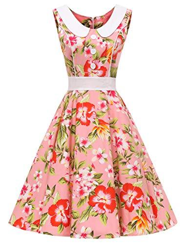 Fleur3 vestido rockabilly VKStar® para Vestido noche estilo 60 retro y de de años mujer sin 50 para verano mangas q7HUqwT