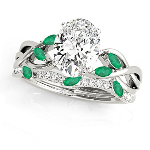 Twisted Oval Emeralds and Diamonds Bridal Sets Palladium (1.23ct)