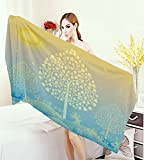 homehot Art Large Bath Towel Thai Pattern Design Illustration of Gold Tree Oriental Culture Asia Eastern Ways Adults Soft Absorbent Quick Dry Blanket Gold Sky Blue
