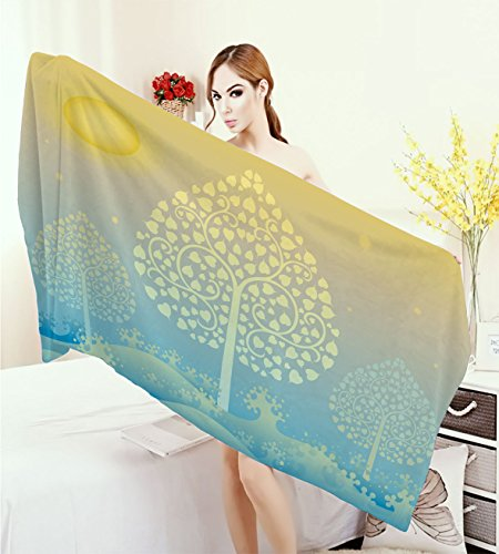 homehot Art Large Bath Towel Thai Pattern Design Illustration of Gold Tree Oriental Culture Asia Eastern Ways Adults Soft Absorbent Quick Dry Blanket Gold Sky Blue by homehot