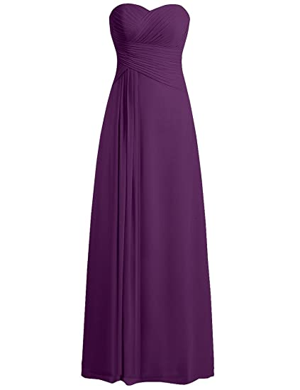 HUINI Strapless Long Chiffon Bridesmaid Prom Dresses Wedding Evening Party Gowns Dark Purple UK14