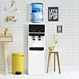 Costway Top Loading Water Cooler Dispenser 5 Gallon Freestanding Hot and Cold Water Water Dispenser w/ Storage Cabinet