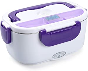 Electric Lunch Box, Portable Food Warmer for Car, Truck, Work, Home, Removable Food-Grade Stainless Steel Heated Lunch Box 1.5L, 2 in 1 12V&110V 40W