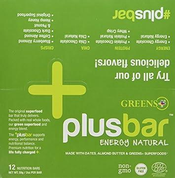 Plusbar Energy Natural Box Greens Orange Peel Enterprises 12 Bars Box