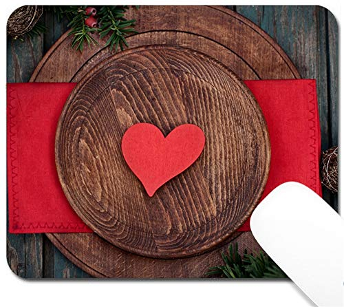 (MSD Mouse Pad with Design - Non-Slip Gaming Mouse Pad - Image 22677811 Christmas Rustic Ornaments and fir Tree Xmas Vintage Concept Christmas d)