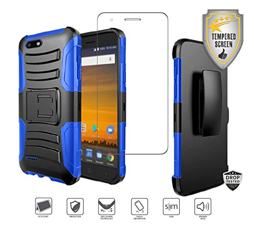 Blue Combo Belt (ZTE Blade Force N9517 Case, with Tempered Glass Screen Protector, Holster Clip Case Heavy Duty Rugged Combo [Kickstand] [Belt Clip] [Swivel Clip] Hybrid Shockproof Cover Case (Black/Blue))