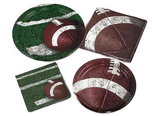 Tailgate Rush Football Party Supply Bundle for 16 Guests - Includes Plates and Napkins
