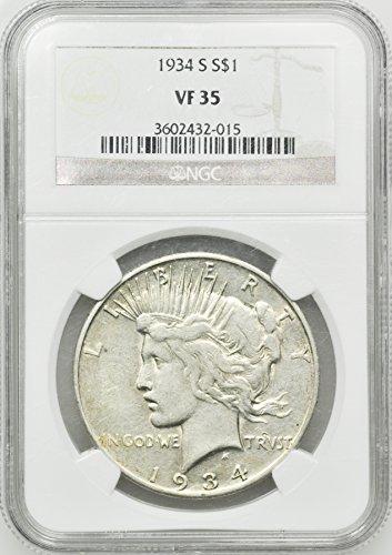 934 S Peace Dollar VF-35 - Five Dollar 1934