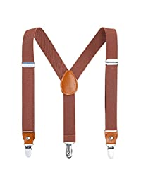 Children Boys Kids Adults Suspenders - Sturdy Metal Clips Genuine Leather Suspender (Brown, 27 inch (3 Years - 9 Years))