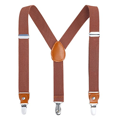 Children Boys Kids Adults Suspenders - Sturdy Metal Clips Genuine Leather Suspender (24 inches Brown