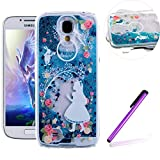 Samsung Galaxy S4 Case,LEECO Samsung Galaxy S4 Case Glitter Flowing Liquid Floating Moving Hard Protective Case Cover for Samsung Galaxy S4 I9500 Blue Liquid-Girl wearing a white dress