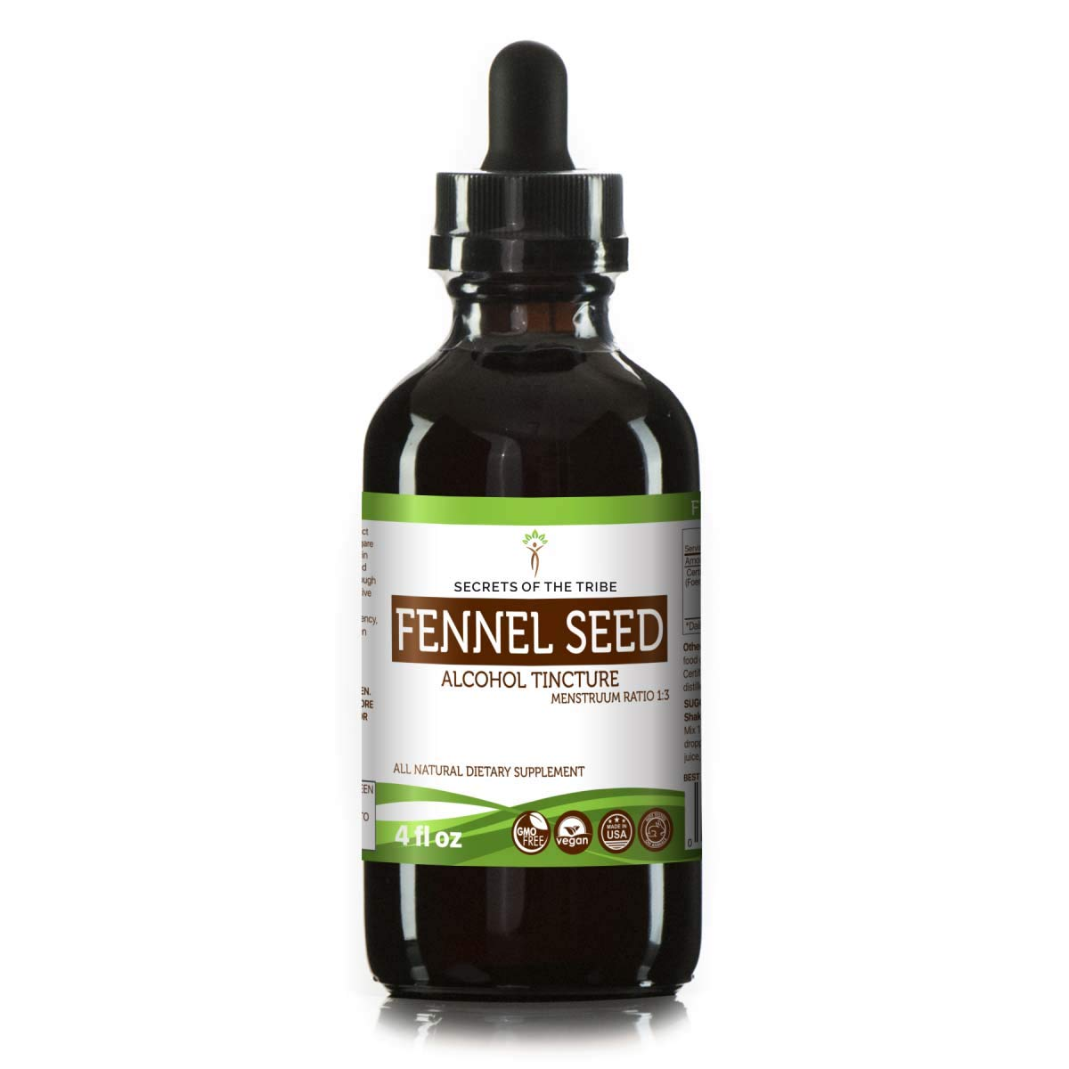 Fennel Seed Tincture Alcohol Extract, Organic Fennel (Foeniculum vulgare) Dried Seed Tincture Supplement (4 FL OZ)
